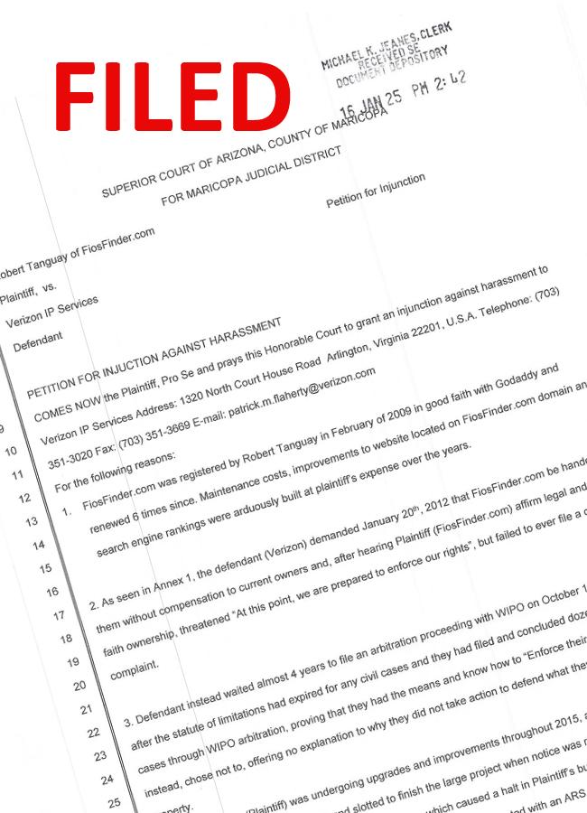 Filed Injunction in Maricopa County, Arizona