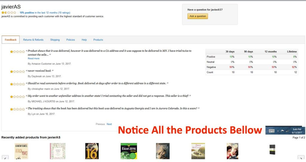 Fraudulent Sellers Products
